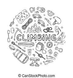 equipamento, alpinism, escalando, ou, montanha