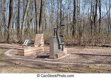 equipamento, ao ar livre, exercício