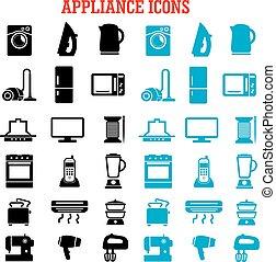 equipamento, apartamento, dispositivo, lar, ícones