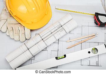 equipamento, arquitetônico, escrivaninha
