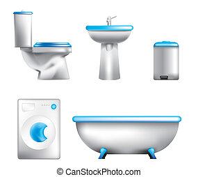 equipamento, banheiro, ícones