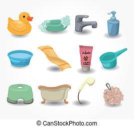 equipamento, banheiro, jogo, caricatura, ícone