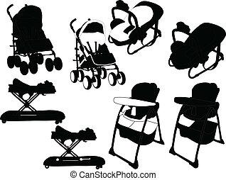 equipamento bebê, vetorial, -