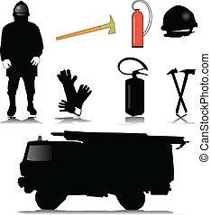 equipamento, bombeiro, ícone