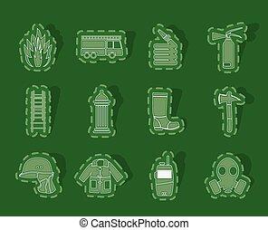 equipamento, bombeiro, ícones