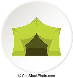 equipamento, círculo, acampamento, ícone