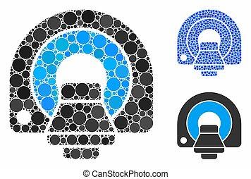 equipamento, círculos, mosaico, mri, ícone