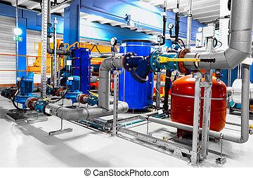 equipamento, cabos, e, tubagem, como, encontrado, interior, industrial