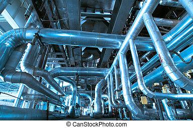 equipamento, cabos, e, tubagem, como, encontrado, interior,...