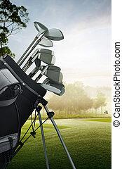 equipamento, campo golfe