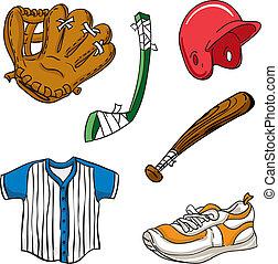 equipamento, caricatura, esportes