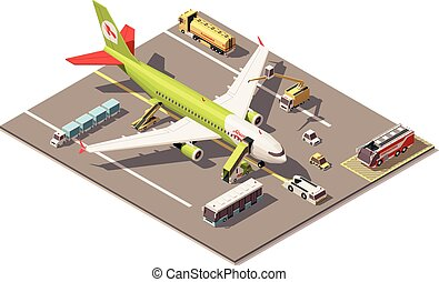 equipamento, chão, vetorial, poly, baixo, aeroporto, avião, apoio, veículos, avental, isometric