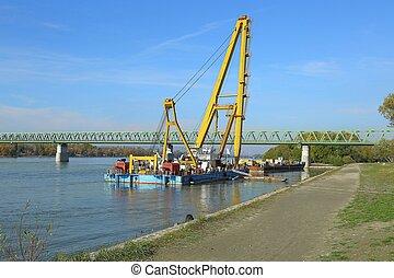 equipamento, construção, barcas