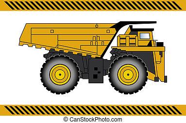 equipamento, construção, caminhão, maquinaria, entulho