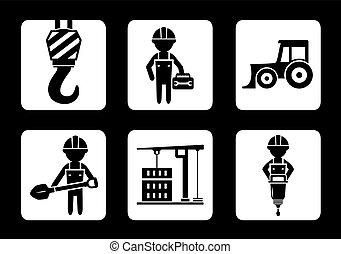 equipamento construção, construtor, jogo, ícones
