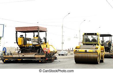 equipamento construção, em, estrada, predios
