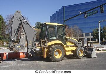 equipamento construção, ligado, rua cidade