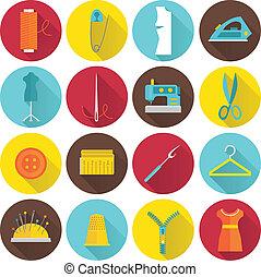 equipamento, cosendo, ícones