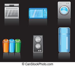 equipamento, cozinha, ícones