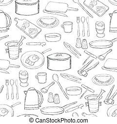 equipamento, cozinha, padrão