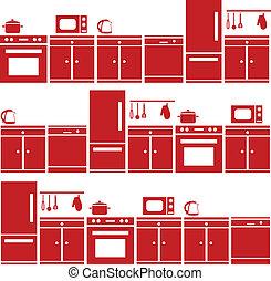 equipamento, cozinha, seamless, padrão
