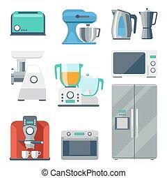 equipamento, cozinhar, jogo, apartamento, ícones