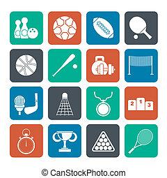 equipamento, desporto, ícones