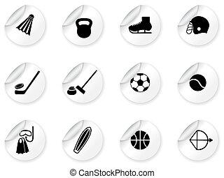 equipamento, desporto, adesivos, ícones