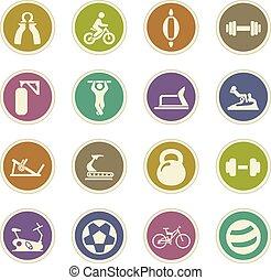 equipamento, desporto, jogo, ícones