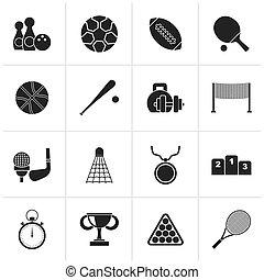 equipamento, desporto, pretas, ícones