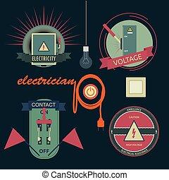 equipamento, elétrico, logotipos
