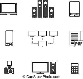 equipamento, eletrônica, ícones, mídia digitais