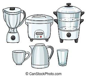equipamento, eletrônico, usando, cozinha