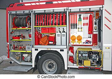 equipamento emergência, dentro, caminhão bombeiros