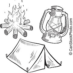 equipamento, esboço, acampamento