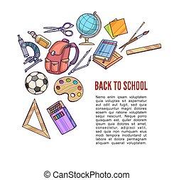 equipamento, escola, costas, aprendizagem, materiais