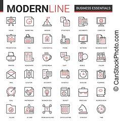 equipamento, escritório, negócio, vetorial, magra, ícone, pretas, linha, objetos, jogo, vermelho, ilustração, financeiro, documentos, desenvolvimento