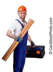 equipamento, esgoto, trabalhador