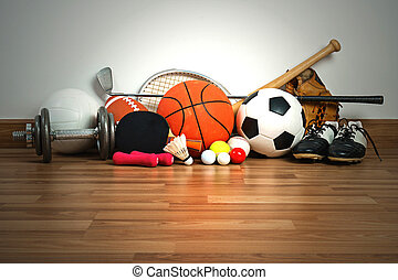 equipamento esportes, ligado, madeira, fundo