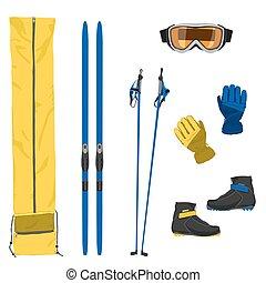 equipamento, esqui, ícones