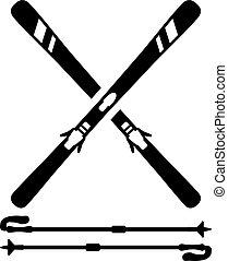 equipamento, esquis, esqui, varas