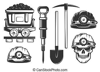 equipamento, estilo, mineiro, retro