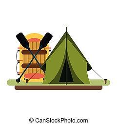 equipamento, estilo vida, acampamento