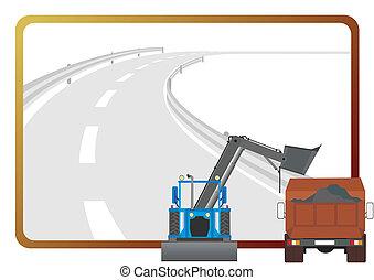 equipamento, estrada-edifício
