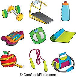equipamento, exercício, ícones