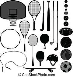 equipamento, ferramenta, desporto, bola