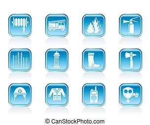 equipamento, fire-brigade, ícones