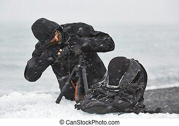 equipamento foto, em, neve, blizzard