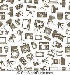 equipamento, foto, seamless, fundo, sillhouettes