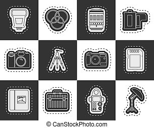 equipamento, fotografia, ícones